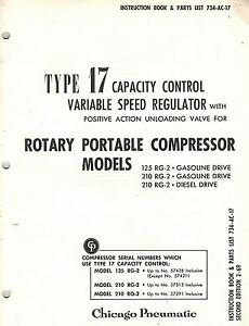 Chicago Pneumatic Vintage 17 Capacity Control For 125 Models Parts Manual 1969