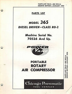 Chicago Pneumatic Vintage 365 Portable Rotary Air Compressor Parts Manual 1970