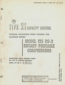 Chicago Pneumatic Vintage 21 Capacity Control For 125 Models Parts Manual 1955