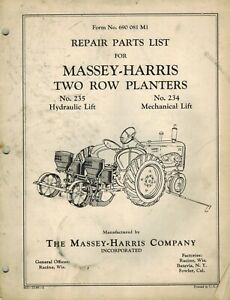 Massey harris Vintage 234 235 2 row Planter Parts Manual