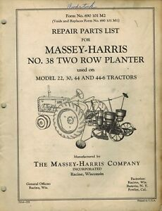 Massey harris Vintage 38 2 row Planter Parts Manual