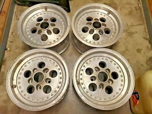 Vintage Slotted Us Ansen Indy Mag Wheels Staggered 14x7 14x8 5x4 5 Ford Mopar