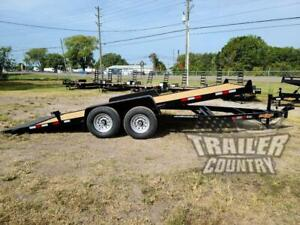 New 2021 7 X 20 14 K Flatbed Wood Deck Gravity Tilt Equipment Car Hauler Trailer