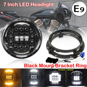 7 Inch Drl Led Headlight Projector Black Mounting Ring Bracket For Harley Bike