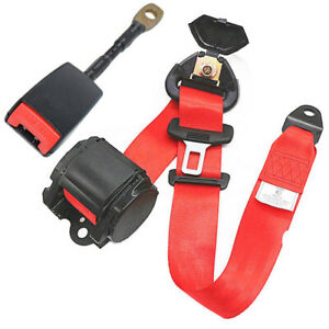 3point Retractable Car Safety Seat Belts Heavy Duty Nylon Straps W Warning Cable