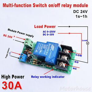Dc24v Trigger Timer Delay Turn Off on Switch Control Relay Module High Power 30a