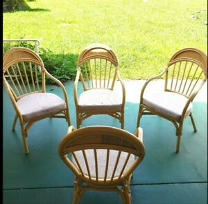 Vintage Rattan Bamboo Old Florida Style Chairs