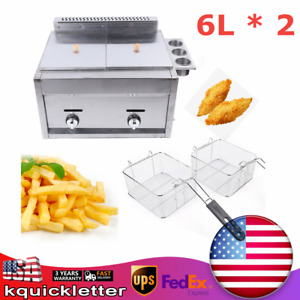 New 6l Commercial Countertop Gas Fryer W two Basket Propane natural Gas Usa