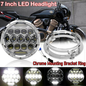 7 Inch Motorcycle Led Headlight Drl Projector Chrome Mounting Bracket Ring Us