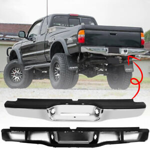 Rear Bumper Assembly Black Steel For 1995 2004 Toyota Tacoma First Generation