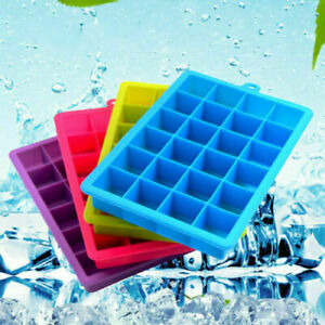 Ice Cube Tray Flexible Easy Push Out Silicone Ice Maker Mold With Lids 24 Cubes