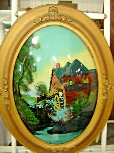 Antique Gesso Oval Bowed Glass Frame Reverse Painted Old Water Mill 1469