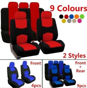 4 9pcs Full Set Front Rear Head Rests Car Seat Covers Auto Suv Truck Seat Cover
