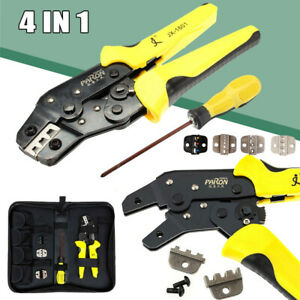 Ratchet Crimper Plier Crimping Tool Cable Wire Electrical Terminals W dies Kit
