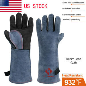 Welding Gloves Mig Tig Fire Resistant Safety Protection Gloves Oven Bbq Glove