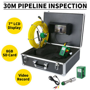 30m Sewer Waterproof Camera Pipe Pipeline Drain Inspection System 7 lcd Hd Dvr