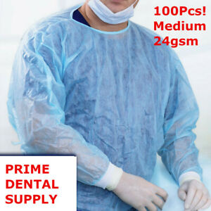 100 Pcs Isolation Gown Medical Dental Blue With Knit Cuff Medium 100pcs case