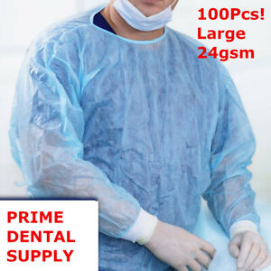 100 Pcs Isolation Gown Medical Dental Blue With Knit Cuff Large 100pcs case