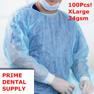 100 Pcs Isolation Gown Medical Dental Blue With Knit Cuff Xl100pcs case