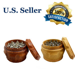 2 5 Wooden 4 Piece Tobacco Herb Spice Grinder Crusher With Magnetic Top