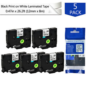 5pk 0 47 Tz 231 Black On White Label Tape For Brother P touch Pt 550 Pt e550w