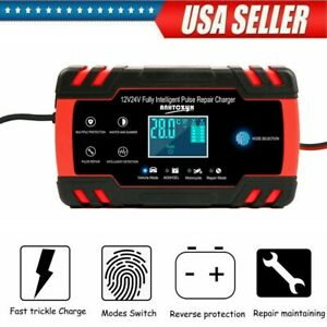 12v 24v Car Battery Charger Lcd Display Automatic Smart Repair Charger Usa