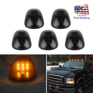 5 Smoked Yellow 9 Led Cab Roof Top Marker Running Clearance Light For Dodge Ram