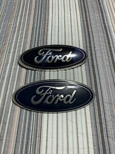 Ford Front Grill Or Tailgate Emblem Set Blue silver 9 x3 5 2004 2014 F150 Used