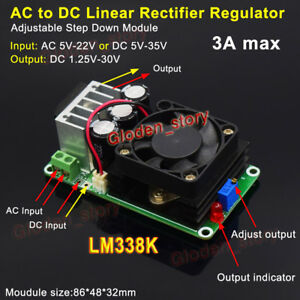 Lm338k Ac dc To Dc Step Down Volt Converter Regulator 3 3v 5v 6v 9v 12v 24v 3a
