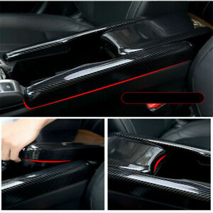 For 2016 2020 Honda Civic Interior Central Armrest Box Panel Carbon Fiber Look