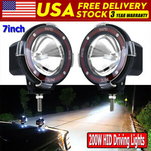 2x 7inch 200w Led Work Light Spot Euro Beam Offroad Truck Round Hid Driving Lamp