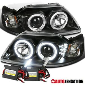 For 1999 2004 Mustang Black Led Dual Halo Projector Headlights 6000k Hid Bulbs