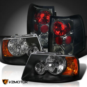 Fit 2003 2006 Ford Expedition Black Headlights Smoked Rear Brake Tail Lights