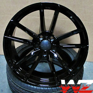 19x8 5 Black Wheels Fit Vw Jetta Golf Cc Gti Passat 19 Inch 5x112 45 Rims Set 4