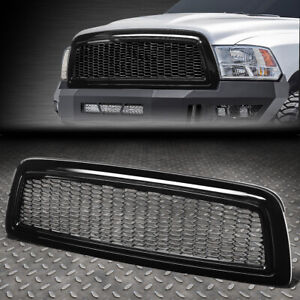 For 09 12 Dodge Ram 1500 Glossy Honeycomb Mesh Front Hood Bumper Grille Grill