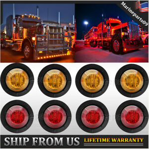 8x 3 4 Bullet Clearance Marker Led Lights Red Amber Trailer Truck Signal Light