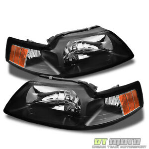Black 1999 2004 Ford Mustang Headlights Headlamps Replacement 99 04 Left Right