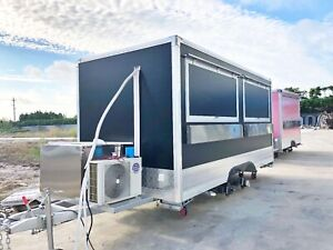 15ft Box Mobile Food Cart Trailer made To Order Stainless Steel Custom Truck