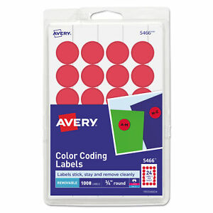 Avery Printable Self adhesive Color Labels 0 75 Red 1008 pack 05466