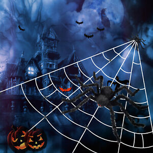 Halloween Giant Spider Web Outdoor Decoration Big Fluffy Spider Scary Party Prop