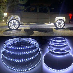 4x 17 5 Pure White Color Strobe Led Truck Wheel Rings Rim Lights Switch Control