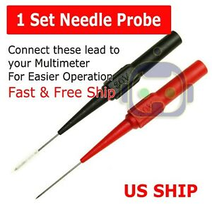 Multimeter Test Lead Extention Back Probes Sharp Needle Micro Pin For Banana