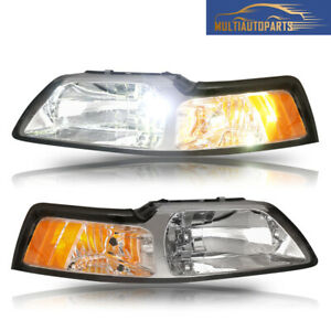 1 Pair Headlights Assembly For 1999 2004 Ford Mustang Clear Lens Amber Corner
