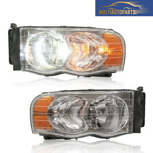 1 Pair Headlight Assembly For 2003 2005 Dodge Ram 1500 2500 3500 Clear Lens