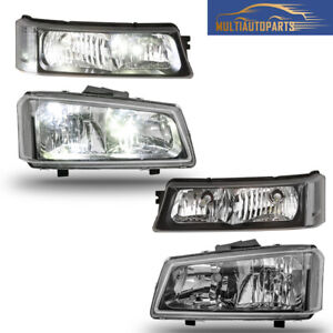 Pair Headlights Assembly For 03 06 Chevy Silverado 1500 2500 3500 Clear Corner