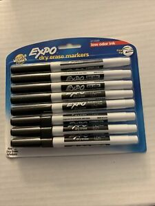 Expo Dry Erase Markers W Low Odor Ink Fine Tip 8 Pack Black