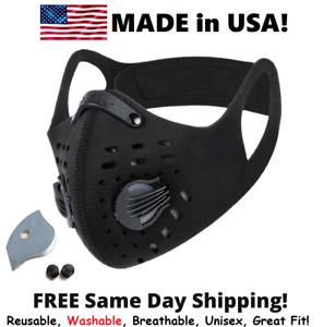 Cycling Face Mask With Active Carbon Filter Breathing Valves Reusable Washable