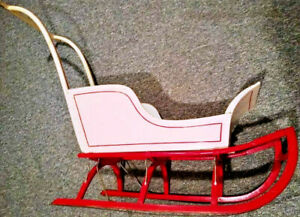 Antique Childs Wooden Push Sleigh Original Size Approx 4 Long 36 Tall 16 Wide