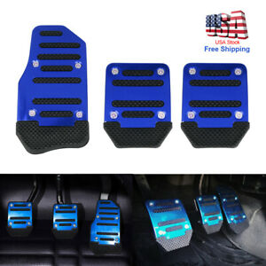 3pc Car Universal Aluminum Manual Transmission Non slip Car Blue Pedal Cover Set