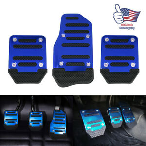 3pcs Car Pedal Cover Manual Transmission Brake Clutch Accelerator Non Slip Blue